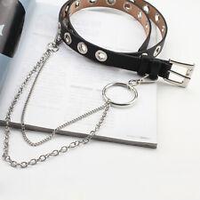 Women Punk Chain Fashion Belt Adjustable Black Double/Single Eyelet Grommet Belt