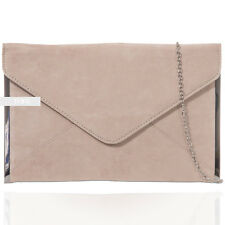 Nude Suede Wedding Ladies Party Evening Clutch Hand Bag Purse Envelop HandBag