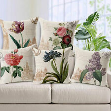 Linen Blend Floral Decorative Cushion Covers