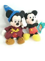 Mickey Mouse 2 Doll lot   Mickey sorcerer bean bag small mickey by Applause
