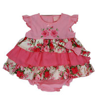 BABY GIRLS FLORAL SUMMER DRESS OUTFIT HEADBAND KNICKERS REBORN NB 0-3-6-12-18 M