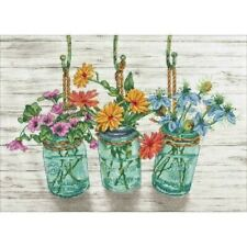 Counted Cross Stitch Kit Flowering Jars Dimensions Mason Jar New Release!