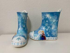 Crocs Disney Frozen Kids' Bump It Rain Boot Slip-On Anna Elsa Girls Size 9 c9