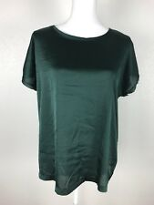 Mango Basic Green Blouse Shirt Size USA Large Short Sleeve