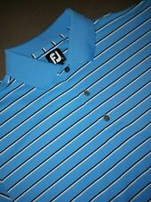 Footjoy Polo Shirt Adult Large Blue White Lightweight Golf Casual Rugby Mens