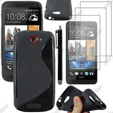 Housse Etui Coque Silicone S-line Gel Noir HTC One S + Stylet + 3 Film écran