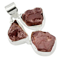 Natural Red Garnet Rough 925 Sterling Silver Pendant Jewelry M50345
