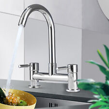 Modern Dual Lever Chrome Kitchen Sink Mixer Taps Deck Mounted Tap Faucet 2 Hole