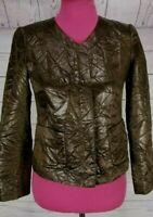 LAFAYETTE 148 NY Shiny Brown Faux Leather Crinkle Jacket Petites Size 0