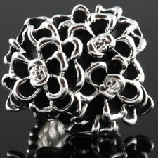 Cocktail Silver Tone Black Flower Bouquet Celebrity Style Fashion Stretch Ring