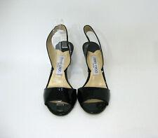 JIMMY CHOO  Black Patent Leather Open Toe Slingback Size 38