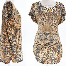 TUNIQUE Femme HAUT TOP AMPLE 42 44 46 48 50 MARRON NOIR LEOPARD JAVA ZAZA2CATS