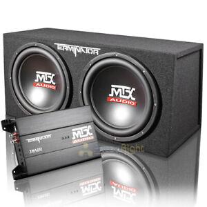 "MTX Audio Dual 12"" Enclosure and Monoblock Amplifier Combo 1200W Max TNP212D2"