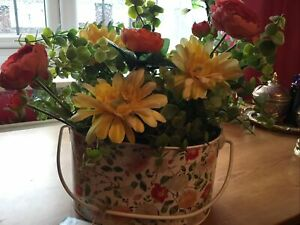 RHS Floral Tin & Artificial Flowers/foliage.with Matching Tin Jug,