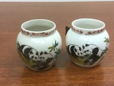Vintage Hand Painted Porcelain Asian Bird Cage Feeder Seed Water Bowl Cup Panda