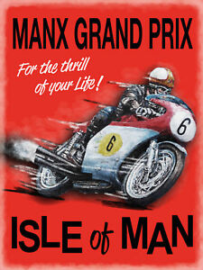 Manx Grand Prix Isle Of Man IOM Motorbike Race TT, Small Metal Steel Wall Sign