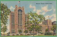 Vintage Postcard Michigan MI Masonic Temple Detroit 1941