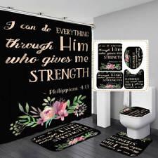 Philippians Black Shower Curtain Bath Mat Toilet Cover Rug Bathroom Decor