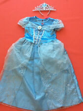Cinderella Costume Disney Princess Dress Up and tiara Book Day Age 8/9 years