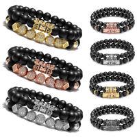 Luxury Micro Pave CZ Balls King Crown Charm Beads Bracelet Men Matte Onyx Stone