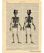 Full Body Skeleton w/ Top Hat Art Print on Antique Book Page Vintage Illust