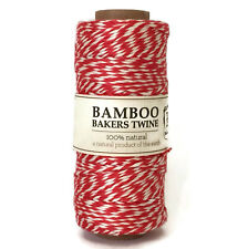 Hemptique 2 ply 1mm Red and White Bamboo Bakers Twine - 1 spool