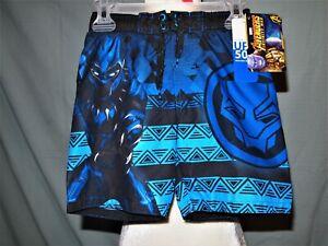 Avengers Marvel Black Panther Boys Swim Suit, Quick Dri, Comfort Liner Size4/5