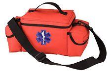 Orange EMS Bag w/ Star of Life - E.M.S. Rescue Bag - Many Pockets/Shoulder Strap