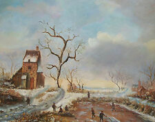 Vintage Continental Winter Landscape Painting - Unsigned - Mid 20th Century