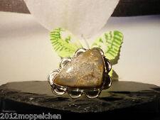 Damen Ring ( Größe 19 ) 925er Silber mit Edelstein Ocean Jasper - Trapez -10K