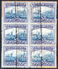 South Africa 1933-48 2d blue & violet, SG.58 used BLOCK OF 6, cat.£150