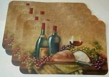 Set of 6 Wine Glass Theme Zinfandel Pinot Bread Grapes Vinyl Table Placemats