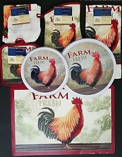 Kitchen Linen Placemats Stove Top Covers Farm Fresh Rooster Theme, Select: Item