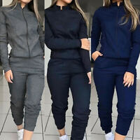Women Casual 2pcs Sport Tracksuit Hoodies Sweats Sweatshirt Pants Sets Wear Suit