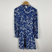 H&M Womens Dress 8 Blue Floral Long Sleeve Round Neck Button Closure