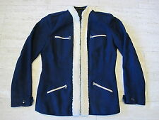 Vintage 100% Wool Fitted Stylish Woman's Coat Jacket Dark Navy Blue Cream Trim