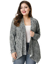 Lady Plus Size Long Sleeves Leopard Prints Spring Cardigan