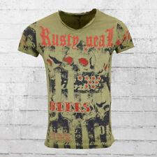 Rusty Neal Herren T-Shirt Riders vintage oliv grün Männer Tshirt Men's Tee