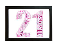 16th 18th 21st 30th 40th 50th 60th Birthday Personalised Gift Word Art Card A4