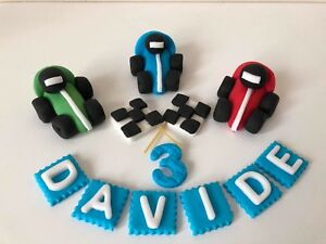 Racing cars flags boys personalised handmade edible 3D cake topper decoration