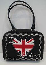 LULU GUINNESS Black I Love London Union Jack Heart Detail Canvas Tote Bag
