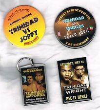 4 Felix Trinidad boxing pinback buttons keychain vs Joppy Vargas  Mayorga Wright