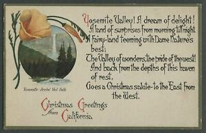 c.1910s Postcard YOSEMITE VALLEY CHRISTMAS GREETINGS POEM Postcard - Beautiful!