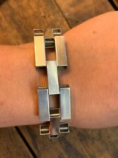 Vintage Sterling silver box chain panel bracelet large chunky statement jewelry