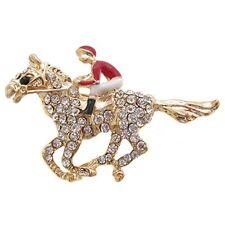 Cristal de oro y esmalte caballo de carreras Broche/Rojo Jockey Broche/Broche De Caballo
