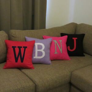 PERSONALISED MONOGRAM INITIAL CUSHION COVER  CUSTOM MADE IN ANY COLOUR / LETTER