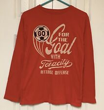 Gap Kids T-Shirt Long Sleeve Red Athletic Soccer Goal Graphic Boy's XXL 14-16
