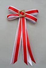 Junior Rider Equestrian Hair Ribbon Bow - Red & White Satin & Clear Rhinestones