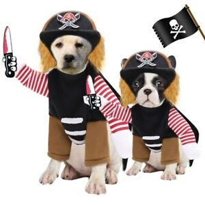 Halloween Cosplay Clothes Suit  Comical Outfits Upright Pirate Clothing for Dog