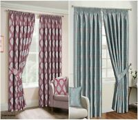 Pencil Pleat New Jacquard Curtain Pair Fully Lined Ready Made Matching Tiebacks
